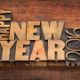 Happy New Year 2016 greetings  - word abstract in vintage letter